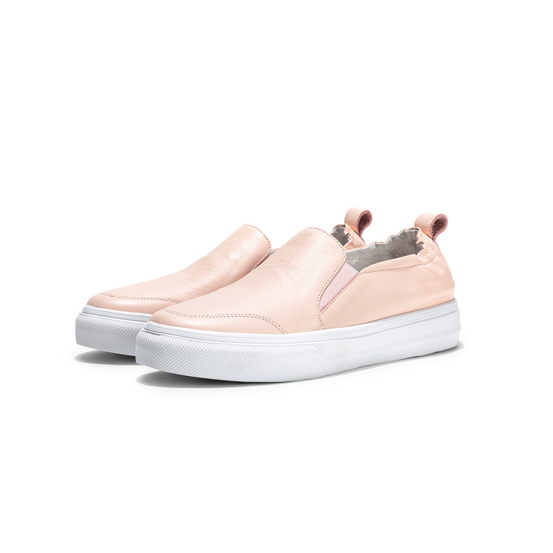 New Donna Flats Fashion 34 Donna bianco 2019 in Asumer Shoes Spring Size Rosa vera pelle Casual Punta 40 Big Rotonda Autumn CxgWqzT0w