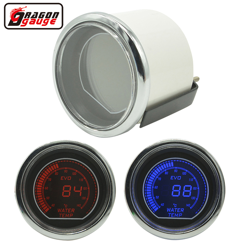 Dragon gauge 52mm Car Digital LCD Vann temp gauge White shell rød og blå bakgrunnsbelysning Stepper Motor Gauge meter 40-140 C