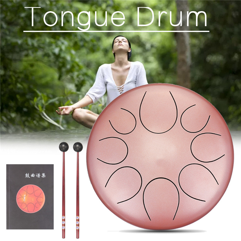 10 pouces or Rose C clé en acier langue tambour Mini 8 tons en acier main Pan tambour Instrument à Percussion avec tambour maillets sac de transport