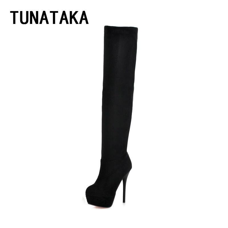 Womens Thigh High Boots Stiletto Heel Sexy Party Over the Knee Boots Platform Heels Black denim zipper hollow worn stiletto womens sandals