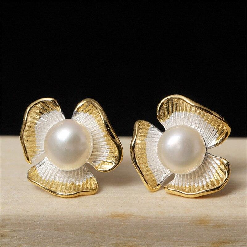 Симпатичные Клевер натуральный жемчуг серьга Для женщин в 100% чистого серебра 925 пробы ручной работы оригинальные украшения женского уха Ст...