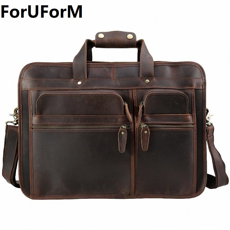 High Quality Vintage 100% Genuine Leather Men Crazy Horse Leather Briefcase Messenger Bag 15-17 inch Laptop Portfolio LI-1982 цена и фото