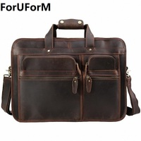 High Quality Vintage 100 Genuine Leather Men Crazy Horse Leather Briefcase Messenger Bag 15 17 Inch
