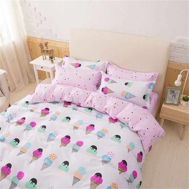 Сьюки довольно розовый 3 шт. постельного белья для девочек с принтом «мороженое» 4 шт. постельное белье наволочки плоский лист Король постельное белье