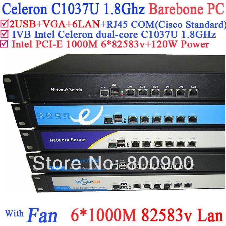 Intel c1037u dual-core plateforme six Gigabit LAN 82583 v RouterOS Mikrotik PFSense Panabit Wayos adoucissant routeur 1U Serveur barebone