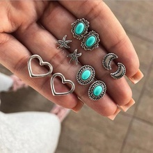 2019 New Fashion 5pairs/set Vintage Heart Sea Star Moon Stud Earrings Set For Women Ladies Girls Party Gifts Jewelry Wholesale