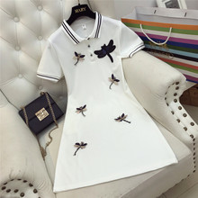 2018 New Summer Fashion Short Sleeve Women Dresses Turn Down Collar Students Dress Beading Small Dragonfly Slim Tee Dress Female(China)