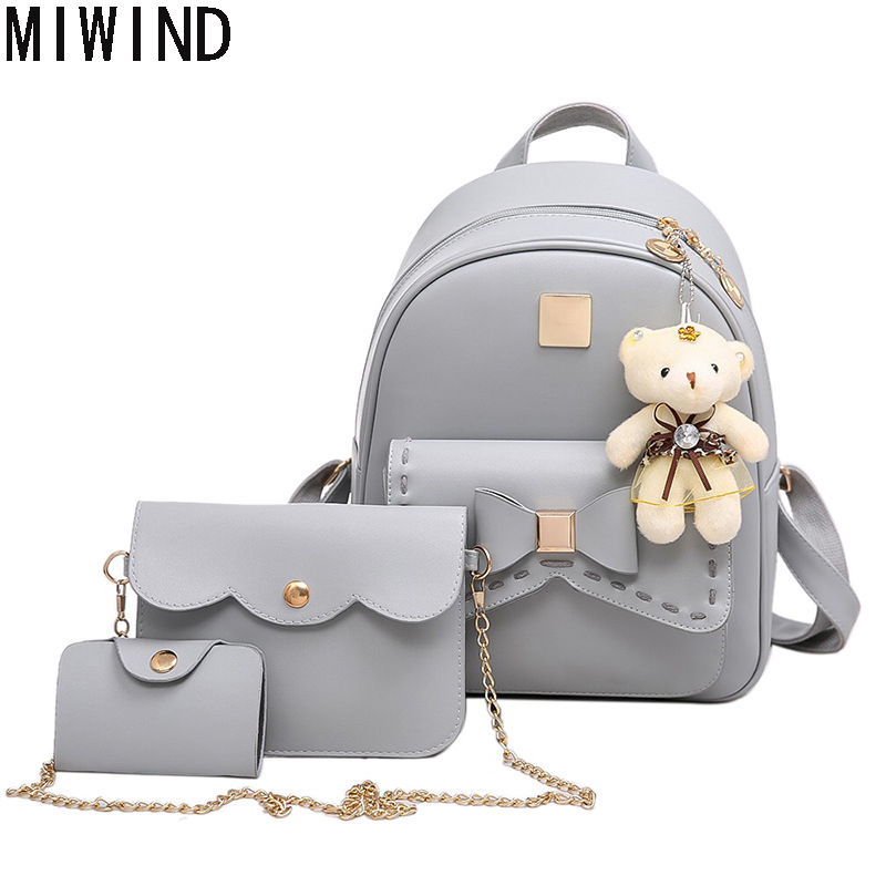 Fashion Composite Bag Pu Leather Back Pack Famous Brand School Bags for Teenages Girls Black Bags Letter Sac A Dos 3 Sets Bag 11