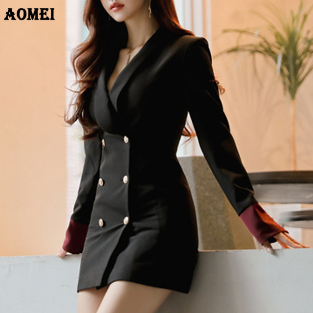 182bdae01b3a Autumn Fashion Jackets Women Blazer Workwear Slim Coat Office Ladies Long  Blaser Clothing Fall Golden Button