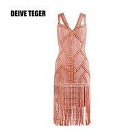 DEIVE Teger Для женщин повязки Платья для женщин пикантные три цвета кисточкой повязку сексуальное платье v образным вырезом благородный платье