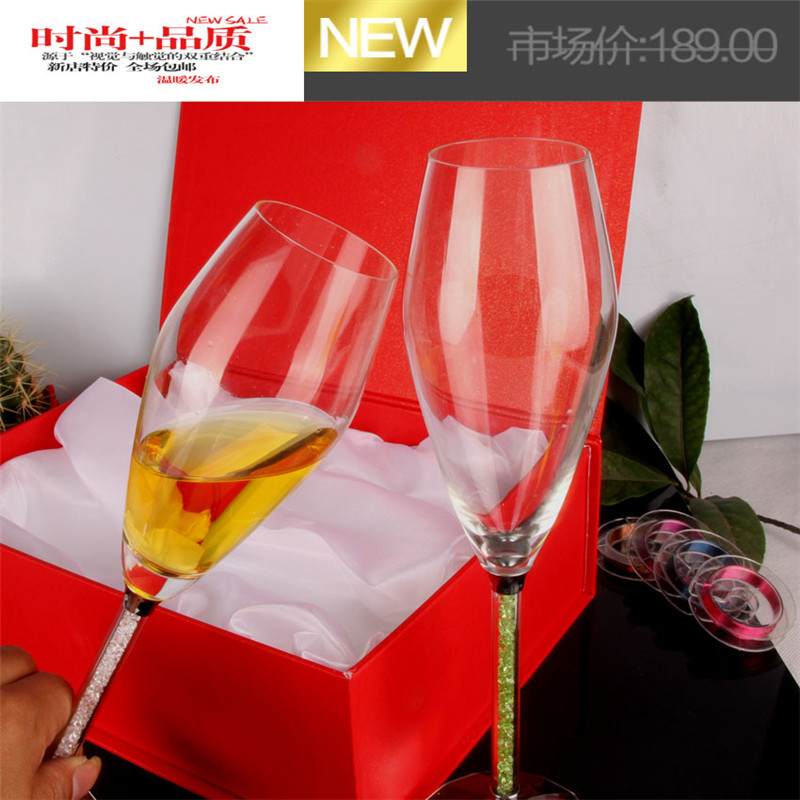 New Tulip Design Grade Crystal Flutes Cups With Rhinestone Filling Handle Wedding Champange Goblets Wedding Party Gifts F2 in Other Glass from Home Garden