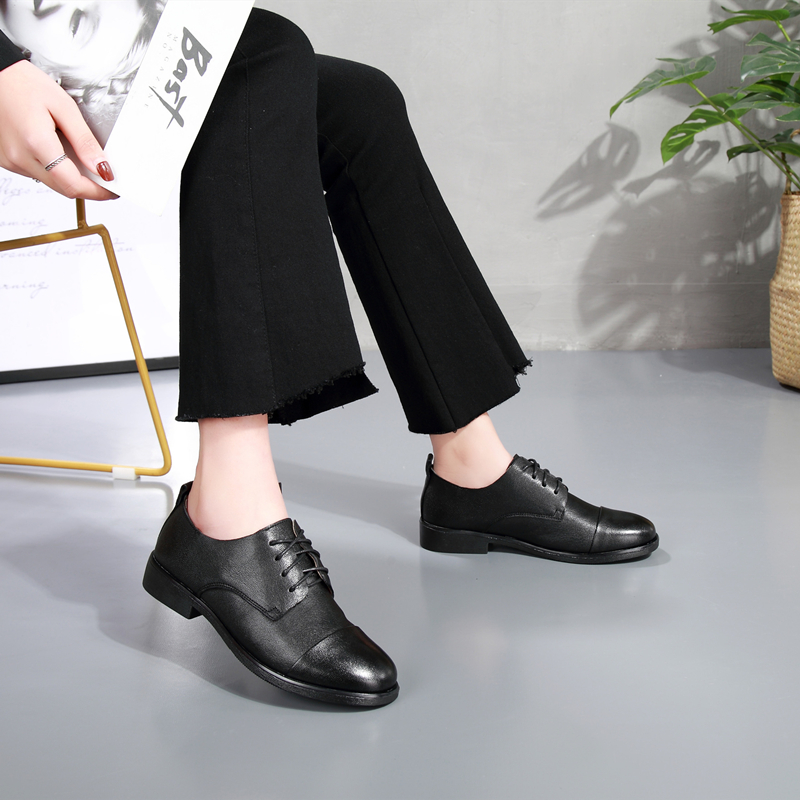 DONGNANFENG Women Female Ladies Mother Sheepskin Genuine Leather Shoes Flats Lace Up Soft Retro British Korean 35 40 BSQN 2051 in Women 39 s Flats from Shoes
