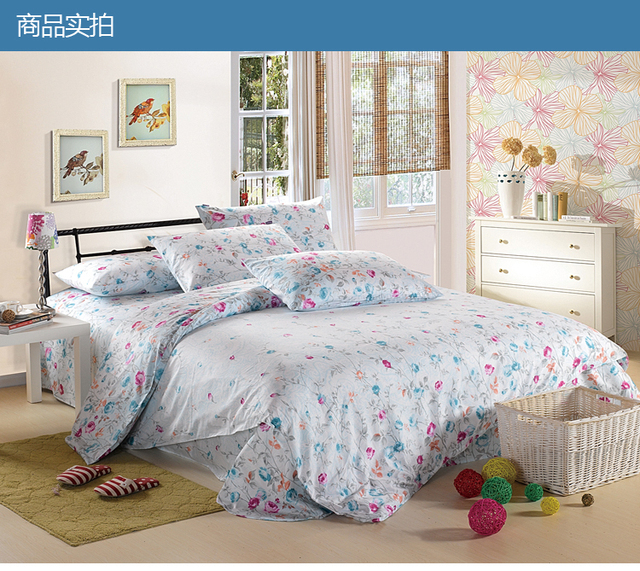 Satin fabric 100%cotton Printed  Chinese knitted bedding sets  /bedding four piece set