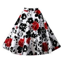 цены на Floral Print Vintage Skirts Summer Women Casual Skirts Plus Size S -2xl Feminino Skirts Formal High Waist Skirts  в интернет-магазинах