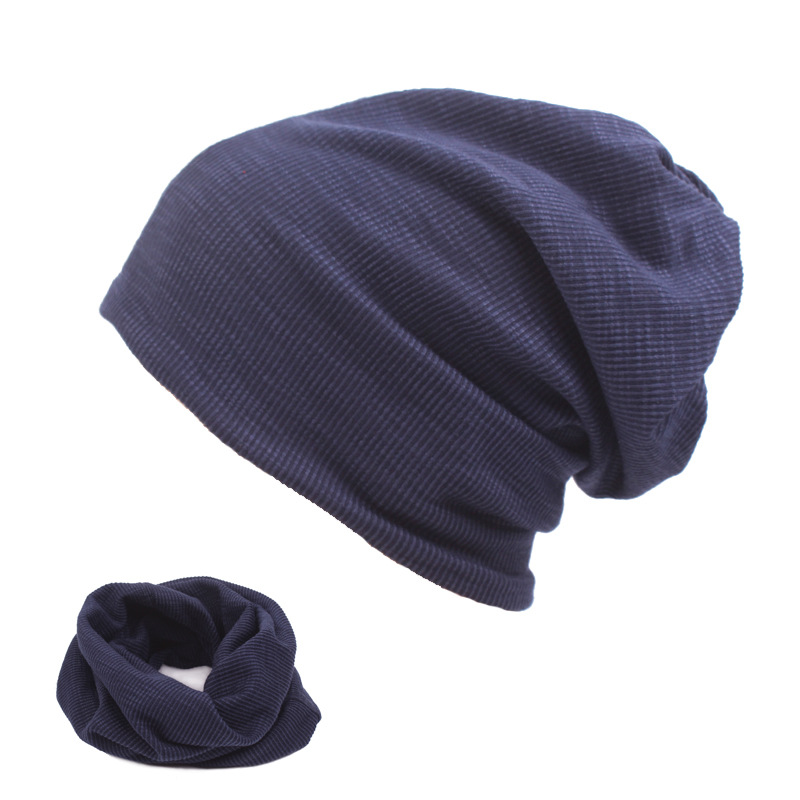 Fasbys 5 Colors Solid Design Ladies Man Thin Skullies Beanies Cotton Caps Casual Keep Warm Bonnet Hat 2 Use Cap Scarf & Hats skullies