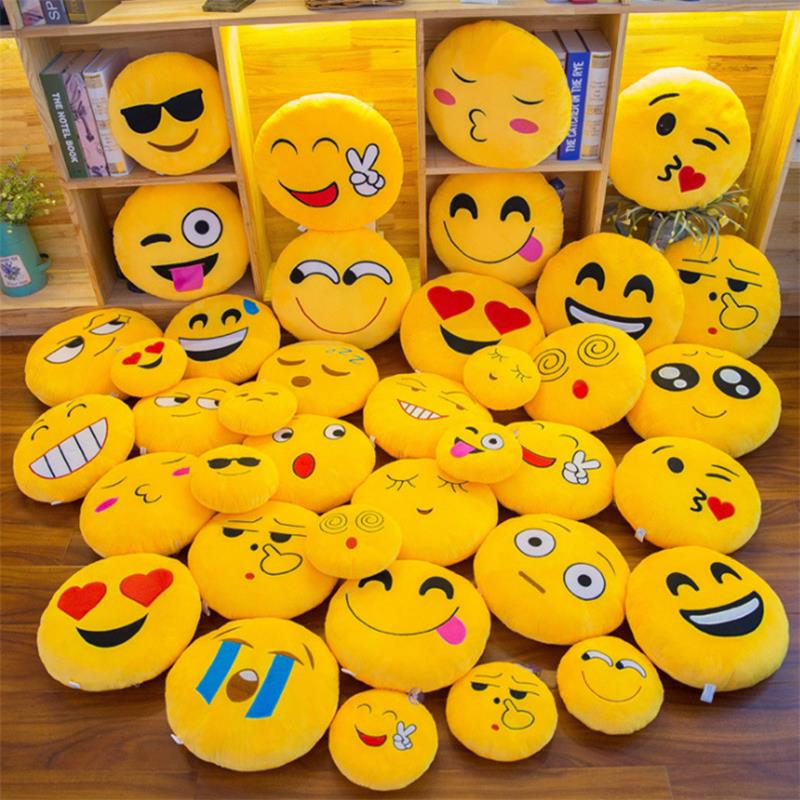 Emoji Pillows Doll Decorative Round Cushion Emoticon Plush Smiley Face Cartoon Cute Throw