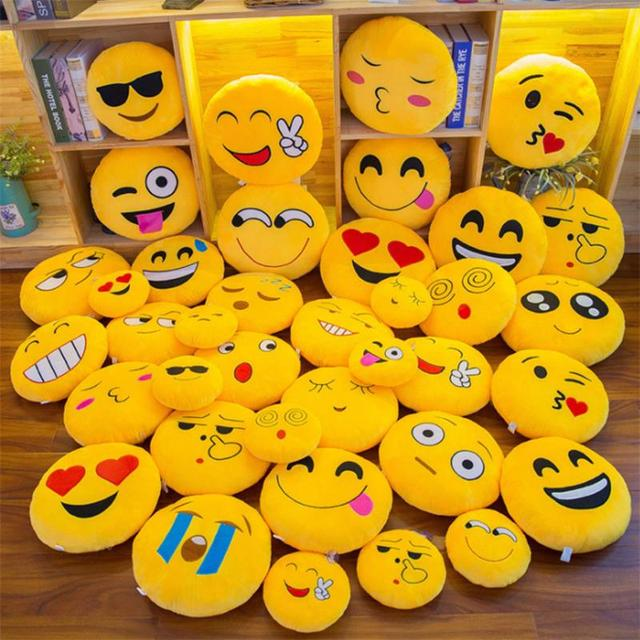 New Smiley Face QQ Emoji Pillows Soft Plush Emoticon Round Cushion Home Decor Cute Cartoon Toy Doll Decorative Throw Pillows