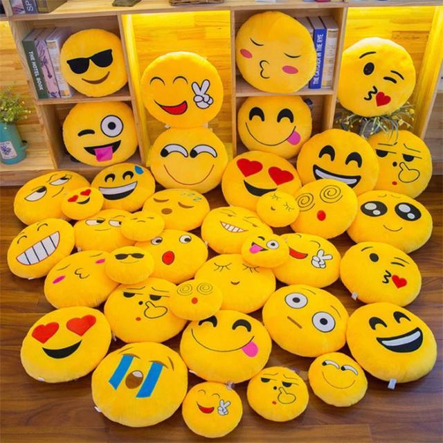 New Smiley Face QQ Emoji Pillows Soft Plush Emoticon Round Cushion Home Decor Cute Cartoon Toy Doll Decorative Throw Pillows 26