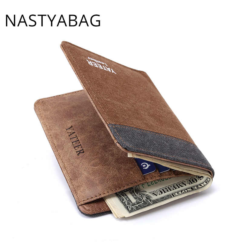 Кошелек Для мужчин небольшой кожаный кошелек тонкий портмоне Для мужчин зажим для денег кошелек Для мужчин мужской кожаный бумажник Короткие мини сумки для для мужчин 2018