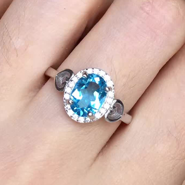 Vintage sterling silver ring with 925 stamp natural 6*8mm light blue topaz silver ring fashion silver jewelry gift for woman