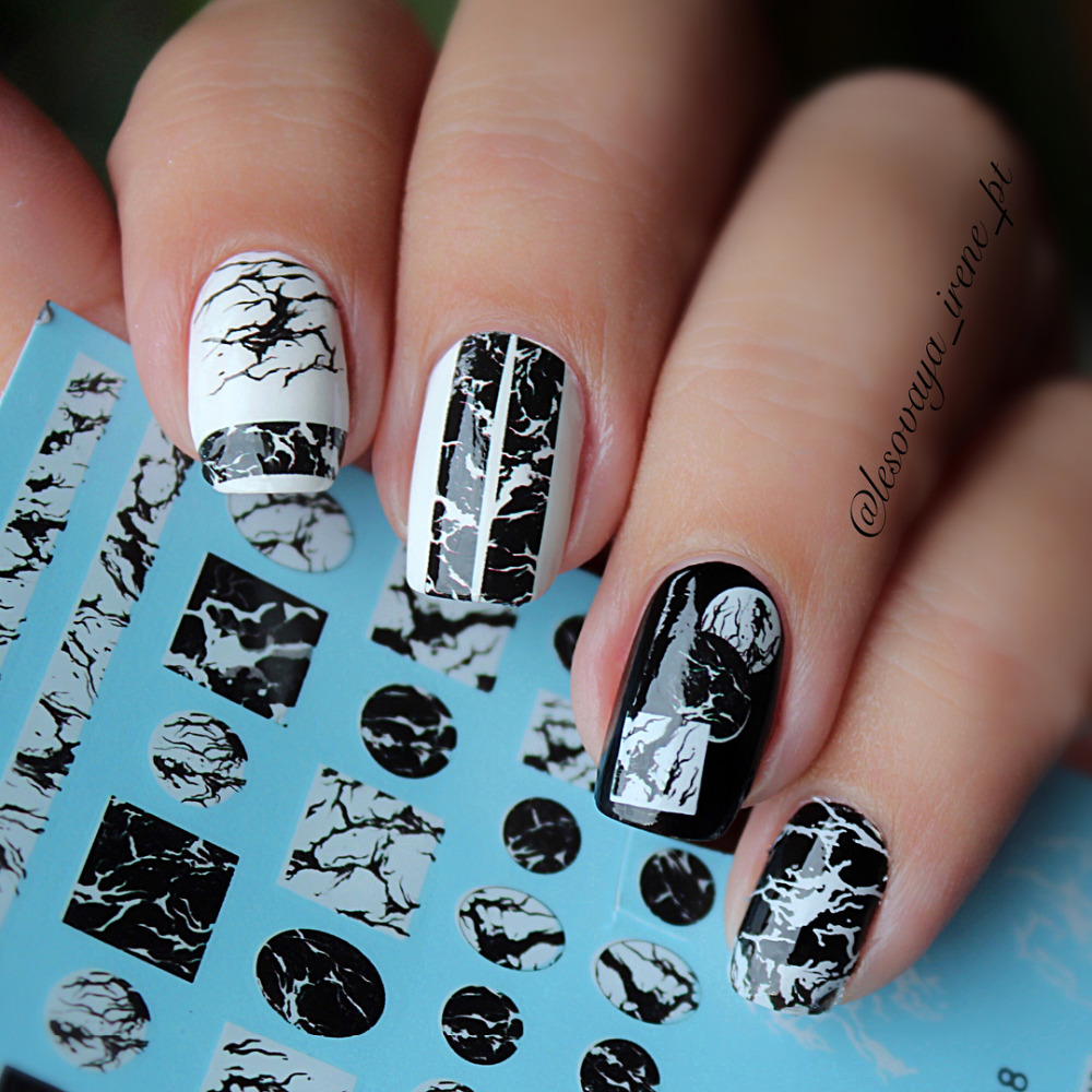 1 Sheet Stone Marble Nail Water Decals Transfer Stickers White