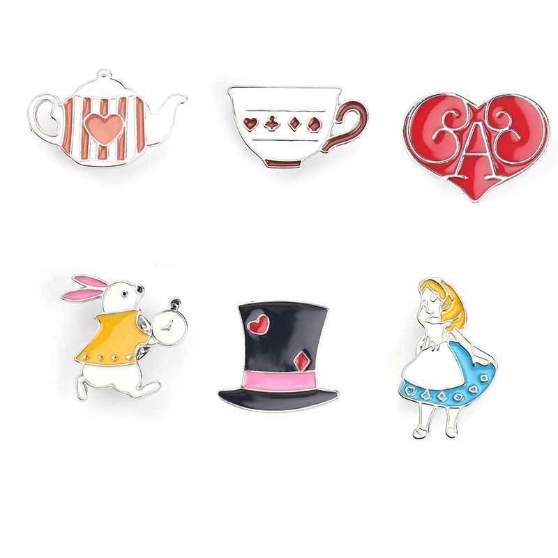 Us 1 47 22 Off Cartoon Brooch Alice In Wonderland Princess Rabbit Cup Teapot Hat Heart Enamel Lapel Pins Cute Backpack Jewelry Accessories
