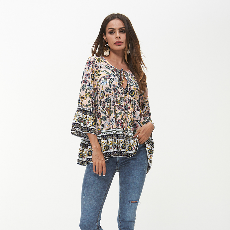 Elegant Women Boho Top Bohemian 2018 Summer Vintage Floral Print Blouse Shirt Flare Sleeve Sexy Tied Up V Neck Plus Size Tops  1