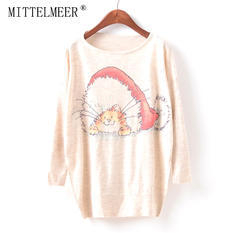 MITTELMEER New Autumn and Spring Harajuku printed Sweaters women o-neck printing Christmas cat Sweaters tops for women