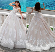 Elegant Ball Gown Wedding Dresses Germany Sweep Train Bridal Dress Boat Neck High Quality With Appliqued KS43