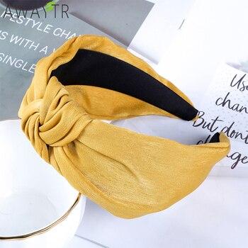 2a4c4e9971d636 Mode Stil Haarband Knoten Turban Feste Elastische Haar Kopf Hoop Bands Haar  Zubehör Stirnband für Frauen Mädchen Breite Kopfschmuck