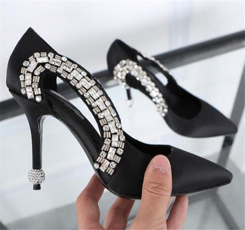 ФОТО Sexy Black Women High Heels Rhinestone Decor Wedding Dress Shoes Satin Women Pumps Zapatos Mujer Valentine Shoe Sandalias Mujer