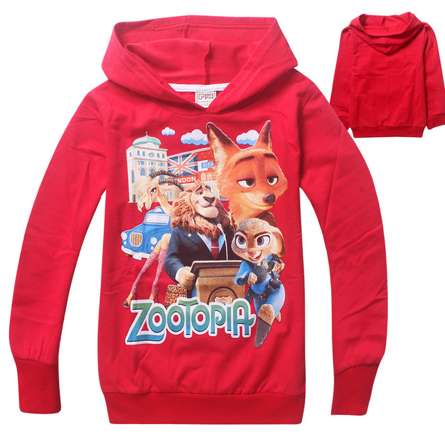 New cartoon Zootopia kids boys girls long sleeve brand cotton hoodies Sweatshirts for 3-12 Y retail