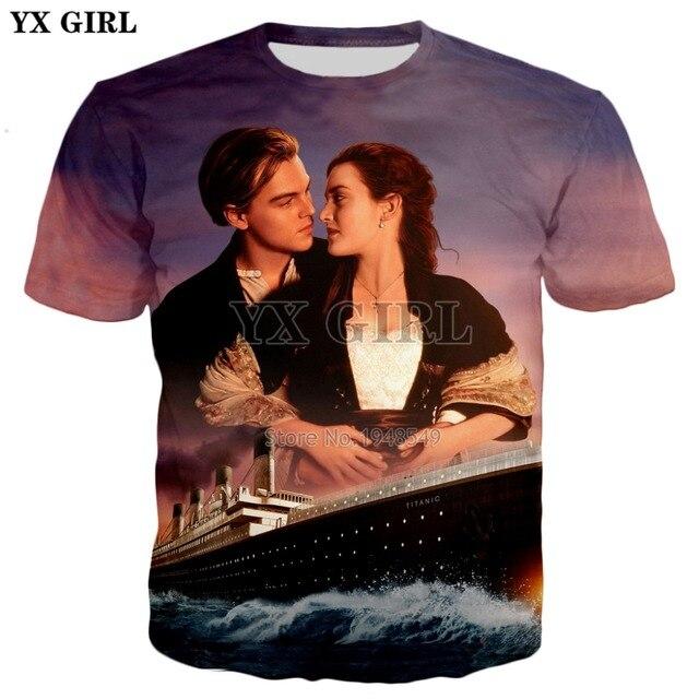 b4099bd90981 € 5.44 40% de DESCUENTO|YX GIRL 2018 verano nuevo estilo moda hombres 3d  camiseta películas Titanic Jack and Ruth impreso hombres/mujeres Casual ...