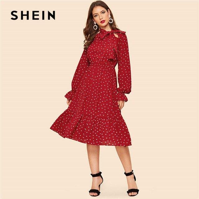 eecdcc20 SHEIN Tie Neck Allover Heart Print Ruffle Hem Midi Dress Women Vintage  Stand Collar Flounce Sleeve Burgundy Long Dresses