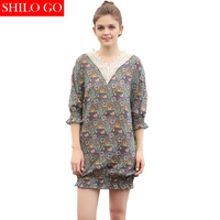 SHILO GO Summer New Women Retro Lace Hollow Nightgown Bohemia Floral Print Nightgown Back Ribbons Lantern