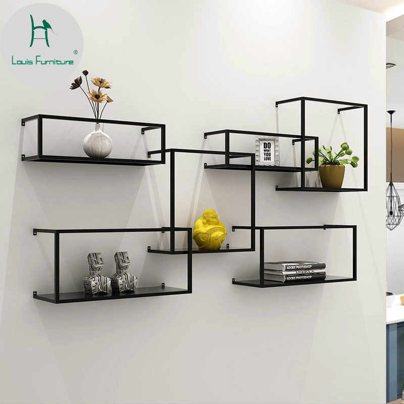 Louis Fashion Nordic Iron Wall Rack Hanging Simple Bookshelf Partition Decoration Flower Living Room Display