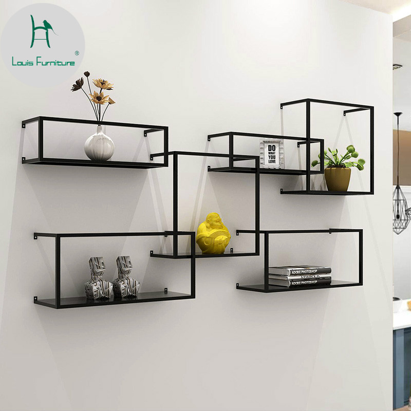 US $28.0 |Louis Fashion Nordic Iron Wall Rack Hanging Simple Bookshelf  Partition Decoration Flower Living Room Display-in CD Racks from Furniture  on ...