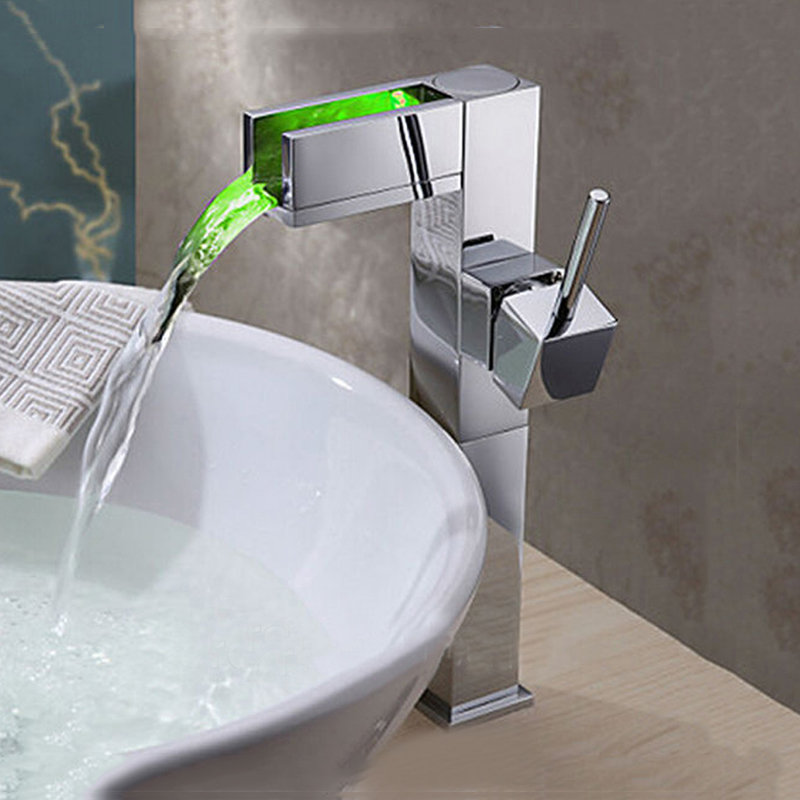 цена на Modern Tall Bathroom Sink Faucet Chrome Finish Waterfall Basin Faucet Color Changing LED Mixer Tap One Handle Deck-mount