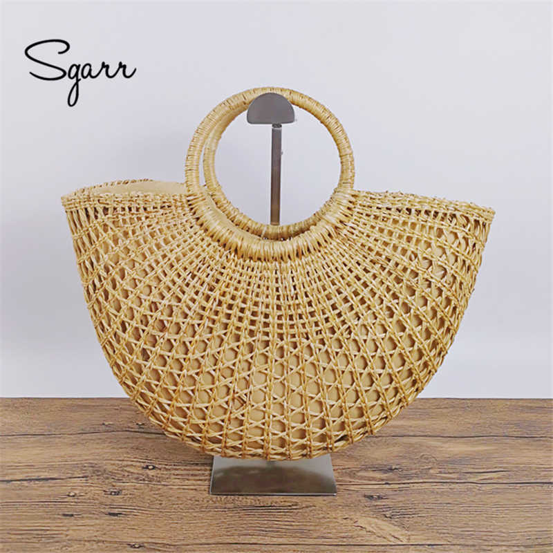 SGARR Mulheres Meia Lua Sacos de Praia Designer De Luxo de Alta Qualidade Da Moda Verão Senhoras Tote Sacos de Ombro Bolsas de Palha Feitos À Mão