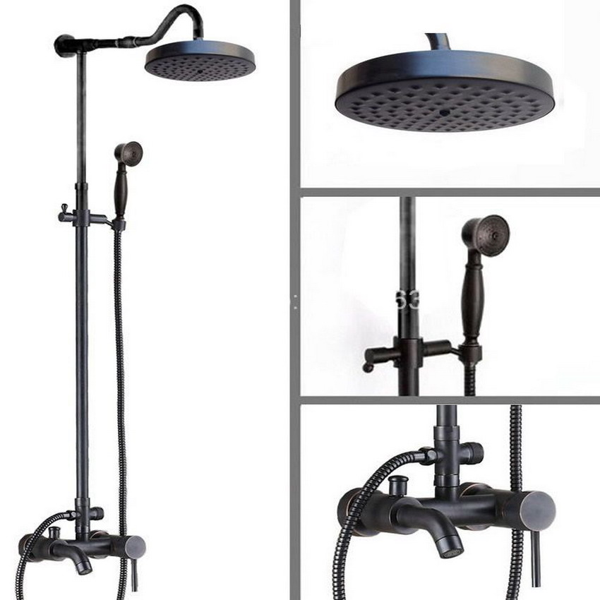 Round Rain Shower Tap Set Black Oil Rubbed Brass Bathtub Shower Faucet with 7.7 Inch Shower Head + Hand Shower ars607
