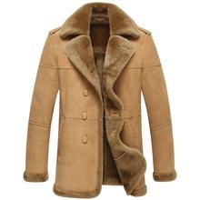 Leather Jacket Men Shearling Fur Coat Men s Casual Leather Outerwear Flight Jacket TJ02