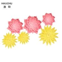 HAOCHU 6pcs 15 20 30cm Pink Yellow Hawaii Party Decoration Set DIY Paper Flowers Paper Fan