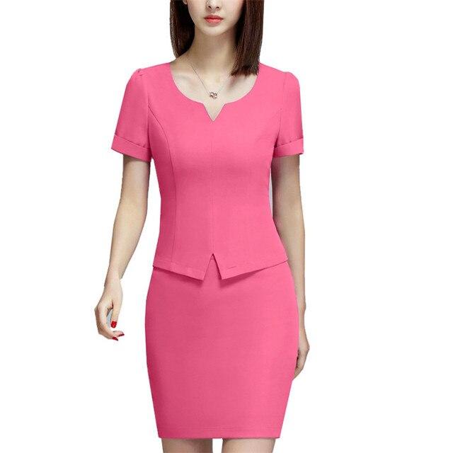 Verano 2017 Oficina uniforme estilo señora Trajes color sólido Delgado corto blusa + lápiz falda mujeres Trabajo Faldas Trajes conjunto gran tamaño