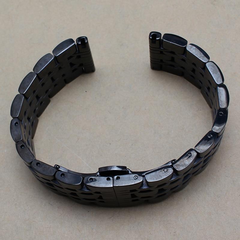 14mm 16mm 18mm 20mm 22mm Neue Herren Schwarz Solide Edelstahl Herren - Uhrenzubehör - Foto 4
