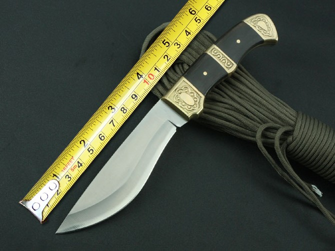 Buy Pointed End Hunting Fixed Knives,5Cr13Mov Blade Black Wood Handle Survival Knife,Camping Rescue Knife. cheap