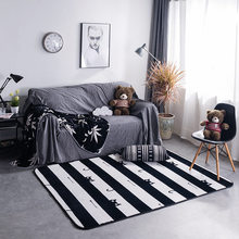New Nordic Style Decor Flannel Velvet Zebra Pattern Big Living Room Floor Children Crawling Play Mats Table Carpets Are Rugs(China)