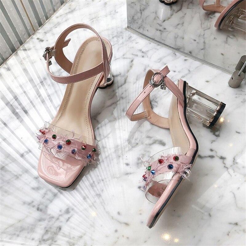 MSSTOR Rivet Transparent Sandals Plus Size Mixed Colors Party Strange Style Woman Sandals 2019 Summer Peep Toe Ladies Sandals