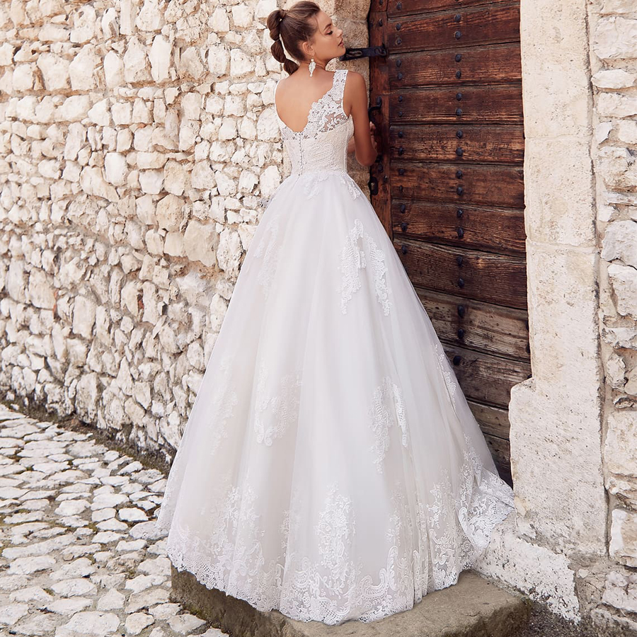 V-neck Cap Sleeve Applique Floor Length Tulle A-line Wedding Dress