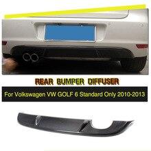Углеродного волокна/FRP черный задний бампер диффузор спойлер для VW Golf 6 VI MK6 стандартный бампер 2010-2013