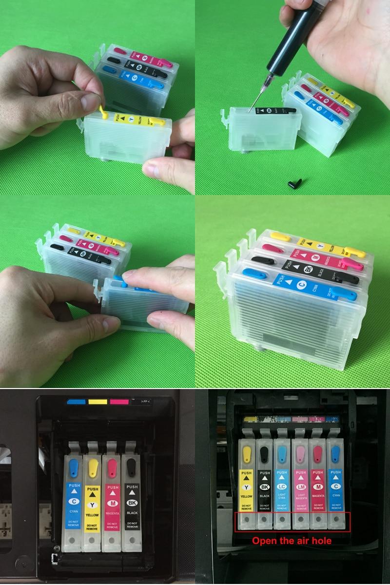 9 cores recarregáveis cartucho de tinta para
